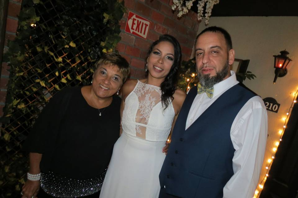 Edna with the happy couple