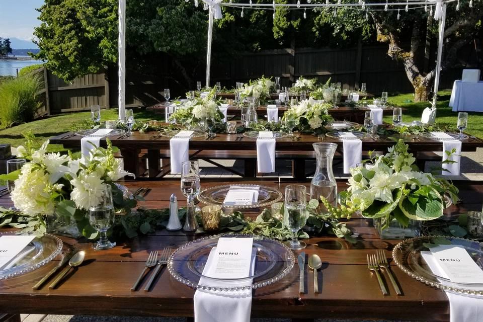 Farm tables on the lawn
