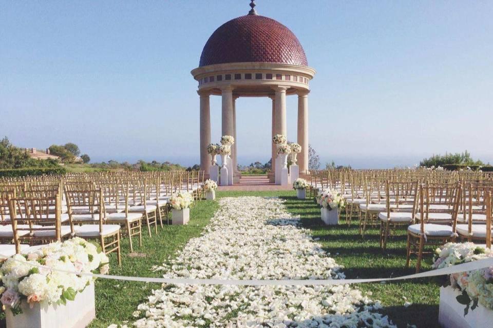 Classic luxury wedding set up in Orange County