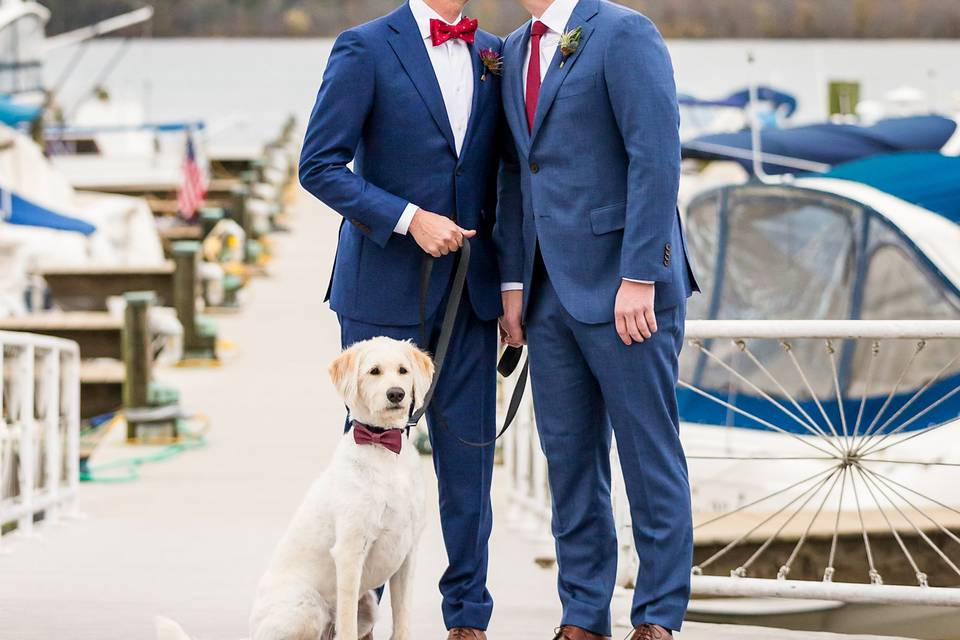 Grooms portrait with dog