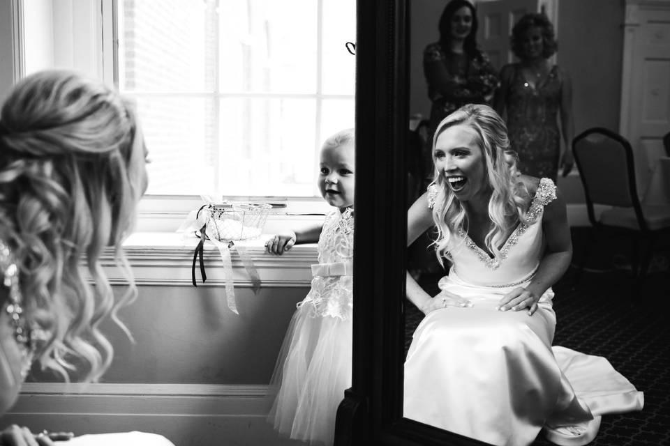 Bride surprising a kid
