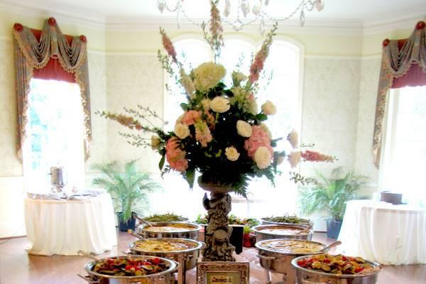 Buffet table spread