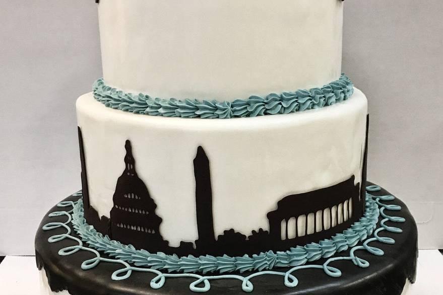 Wedding cake with black city design