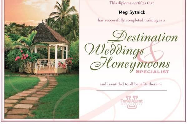 Destination Wedding Specialist Certification.