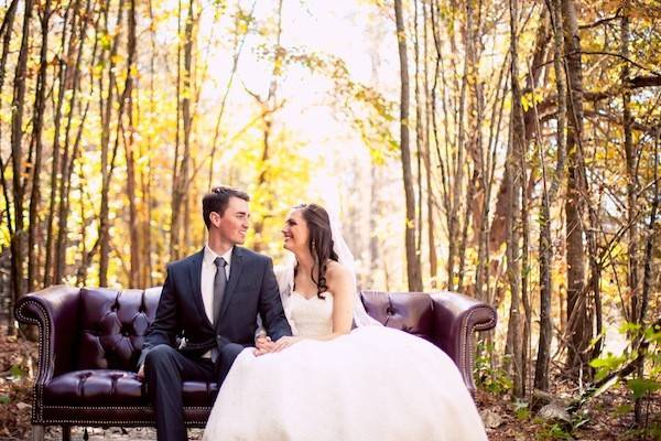 Newlyweds on the leather couch