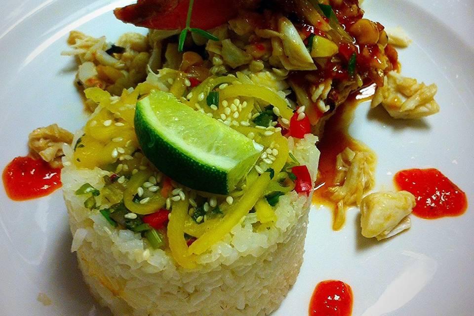 Blackened Shrimp and Crab Meat, Jasmine Rice with Mango Salad.
