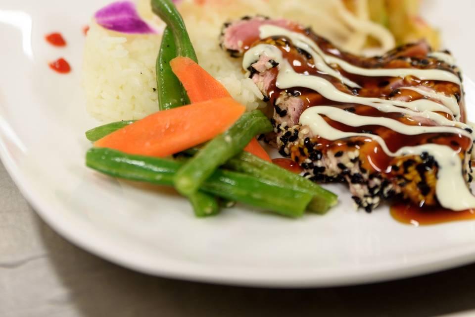 Black and White Tuna with Burnt Honey Teriyaki Reduction and Cucumber Wasabi.  Kim Chi, Coconut Rice and Wild Rice Puff