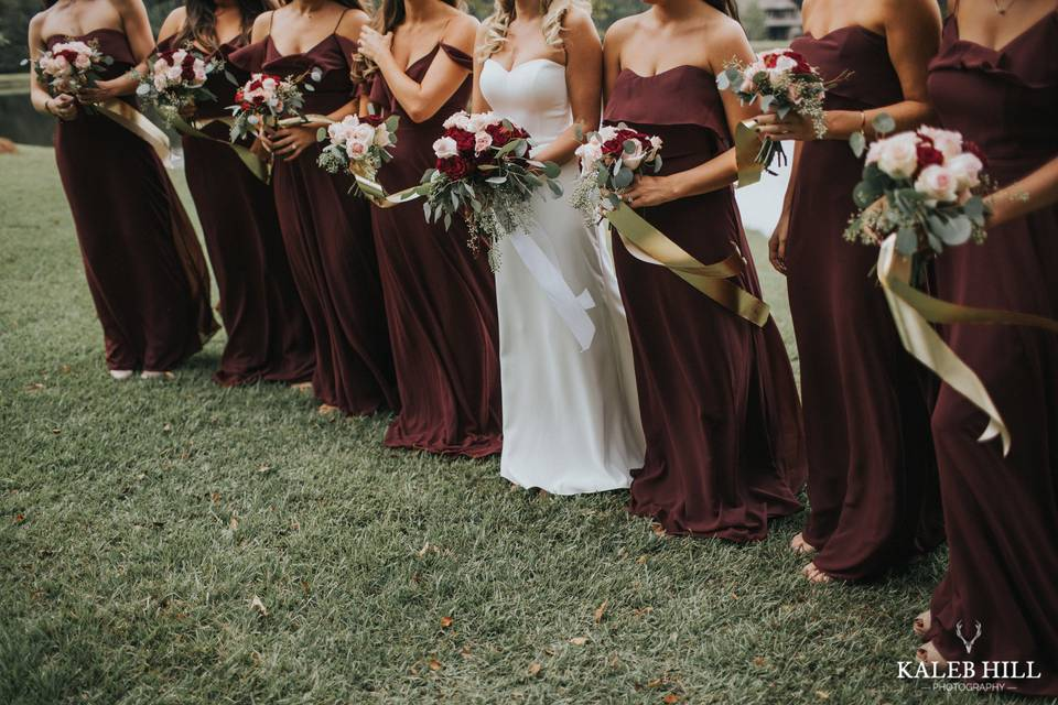 Wedding party with bouquets - Kaleb Hill Photography