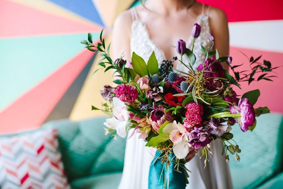 Berry tones Bridal bouquet