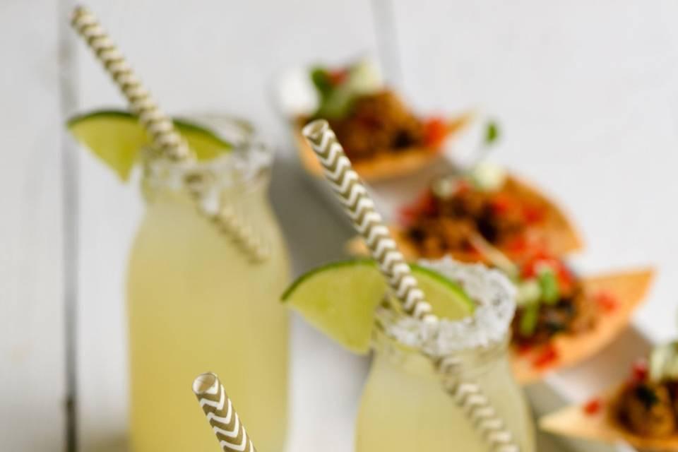 Tostadas and margarita shots