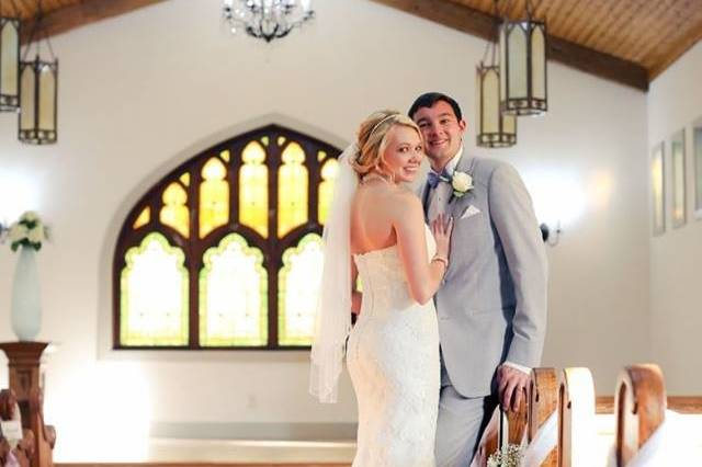 Newlyweds in the chapel