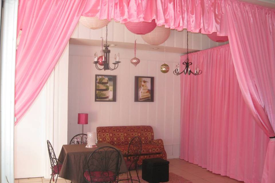 Cake Art Bridal Suite- you can make an appointment for complimentary design and cake tasting.