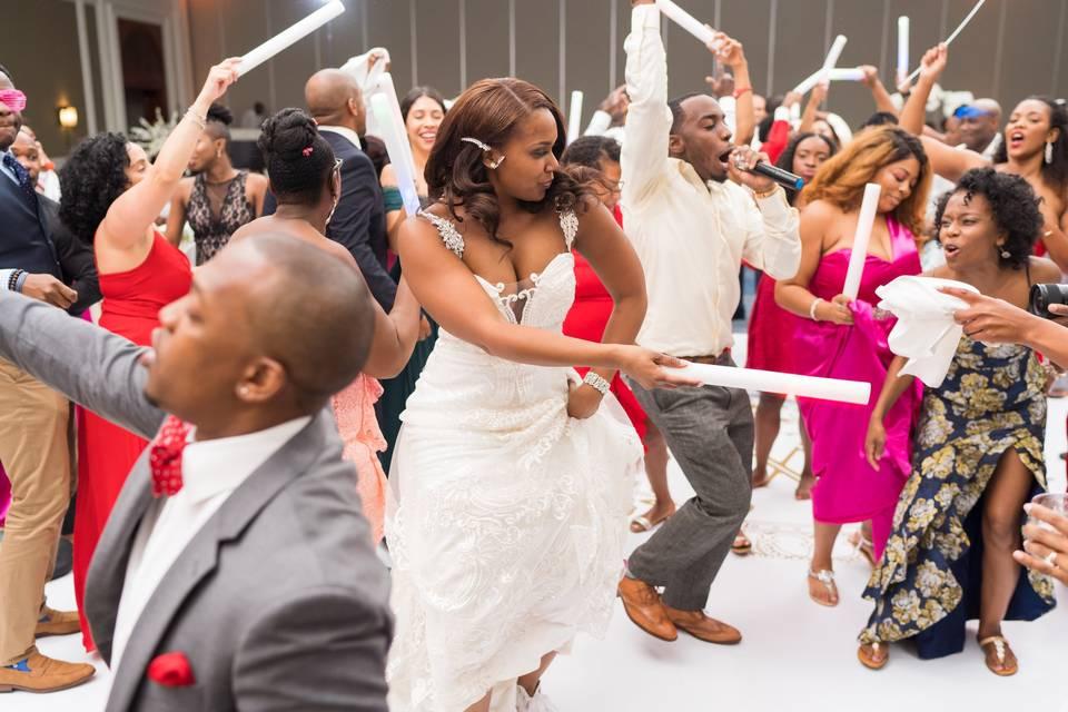 Wedding party on their feet