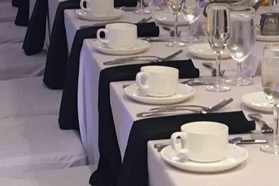 Head Table all set for hot drinks
