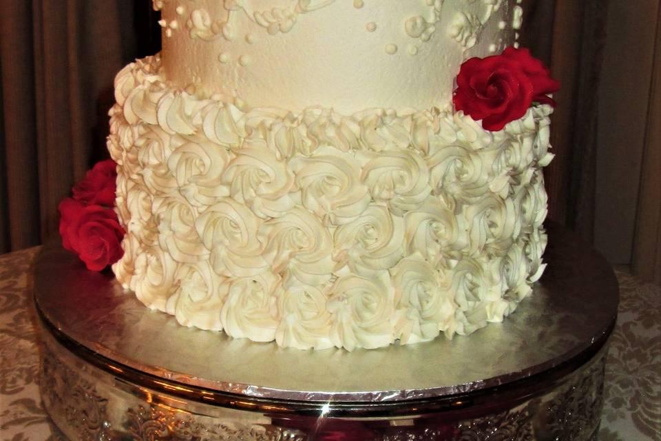 Wedding cake with swiss dots