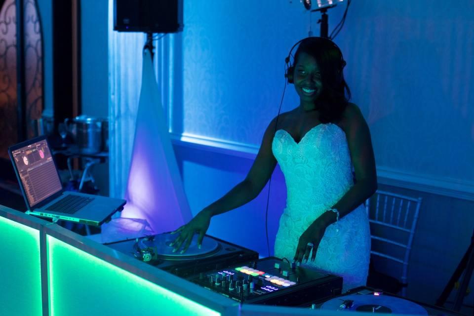 Bride at the DJ station