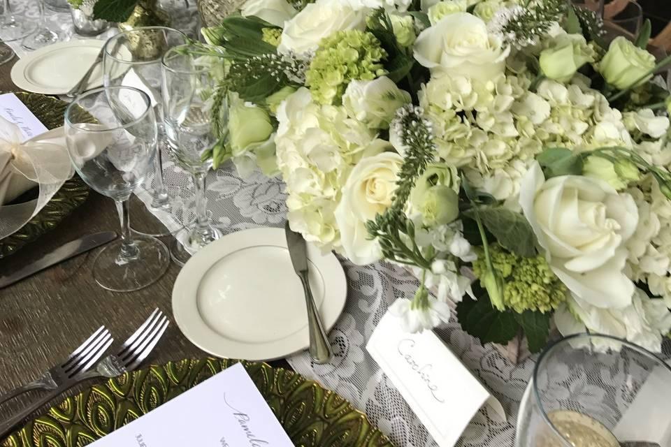 Elongated flower arrangement