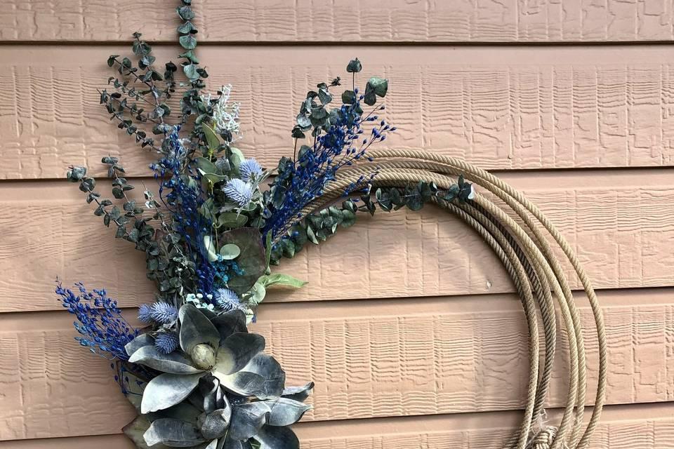 Lariat wreath arbor arrangemen