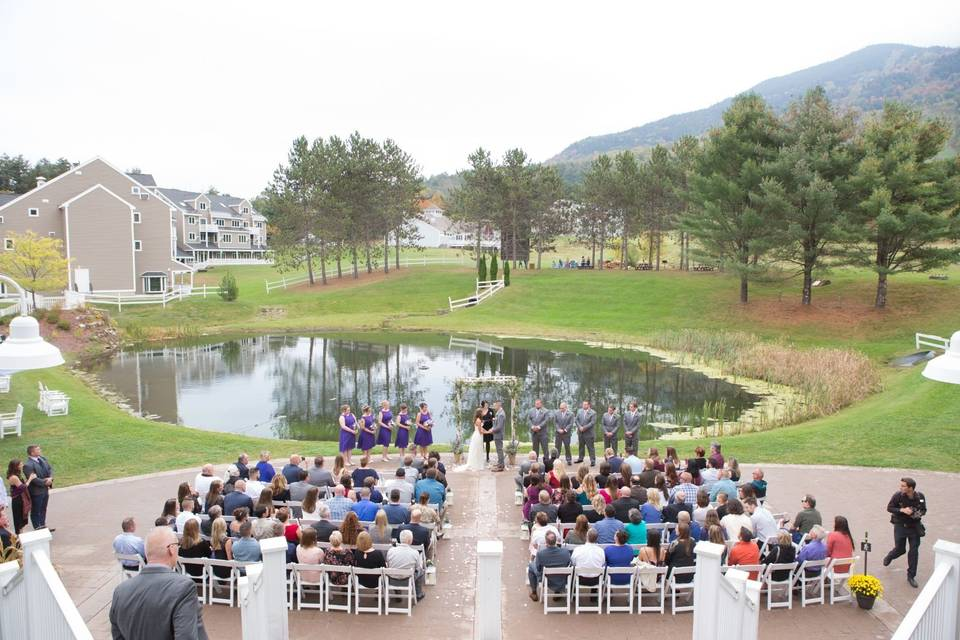 Aerial view of a lake location ceremony