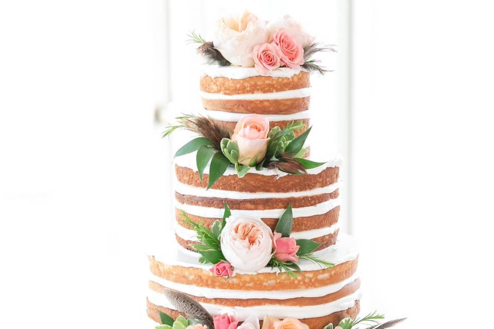4-tier naked wedding cake