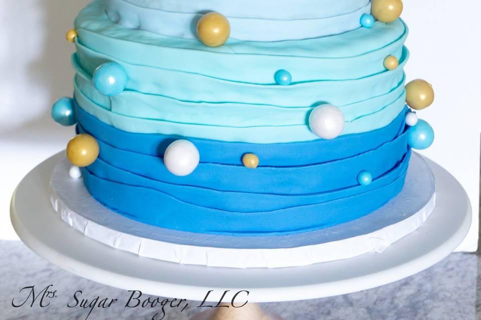 Blue teddy bear cake