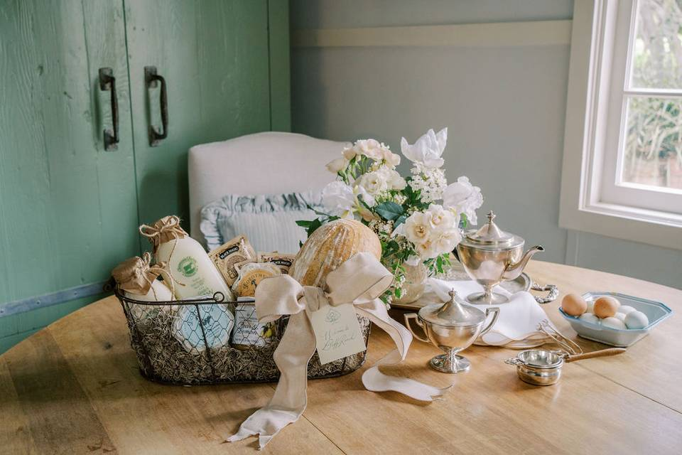 Welcome basket at Lieff Ranch