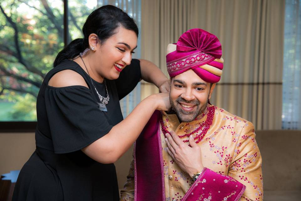 Helping the groom