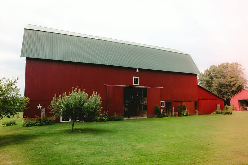 Our 1910 barn is a beautiful space surrounded by fields of corn and wheat, fruit trees, gardens and large maple trees