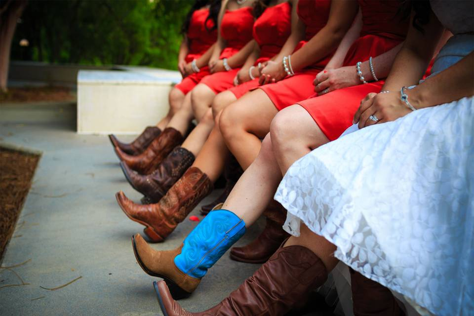 Boots for the bride and bridesmaids