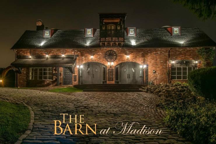 Exterior view, front, at night, The Barn At Madison