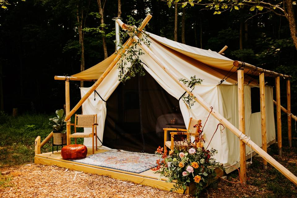 Tent decorated for a wedding