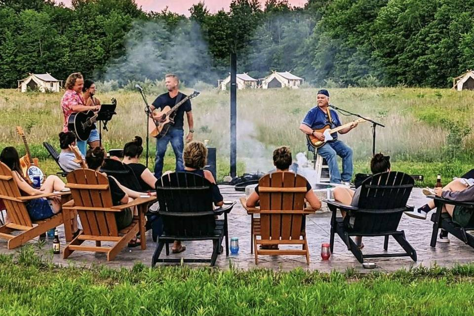 Music near the fire pit