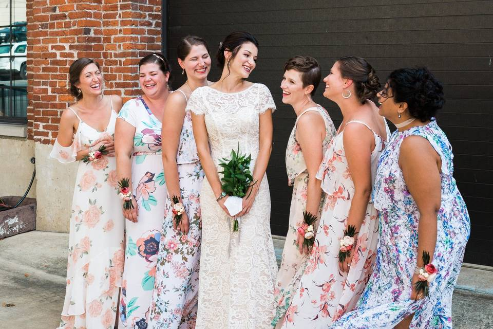 Bridal Party in Courtyard