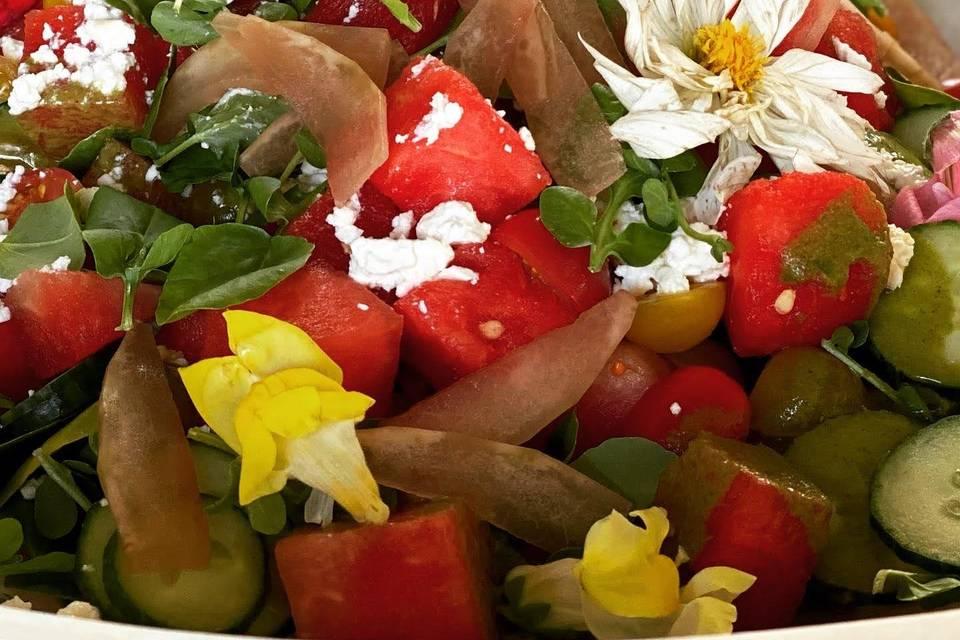 Watermelon Salad, Edible Flowe