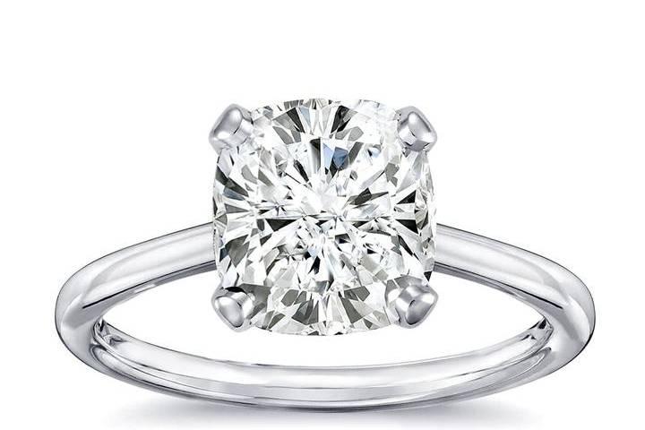Cushion-cut diamond solitaire ring