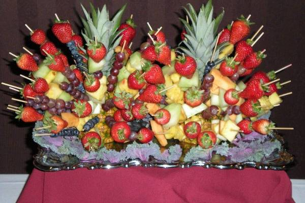 Pineapple Tree with Fresh Fruit Kabobs