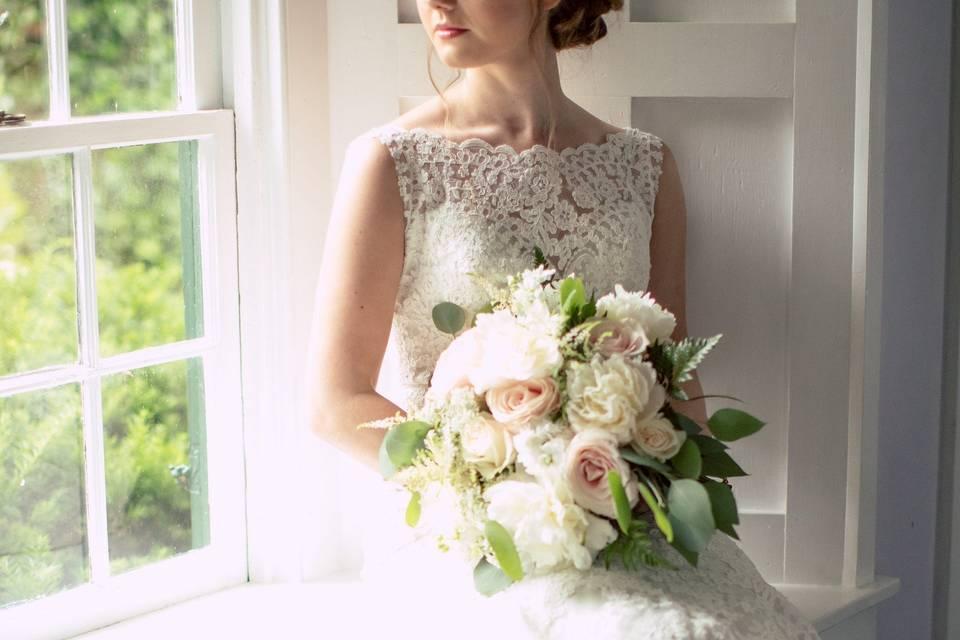 Bride on the window sill