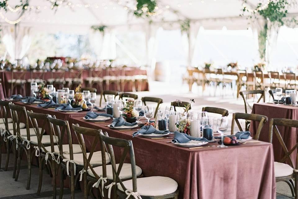 Blush Velvet table linens.