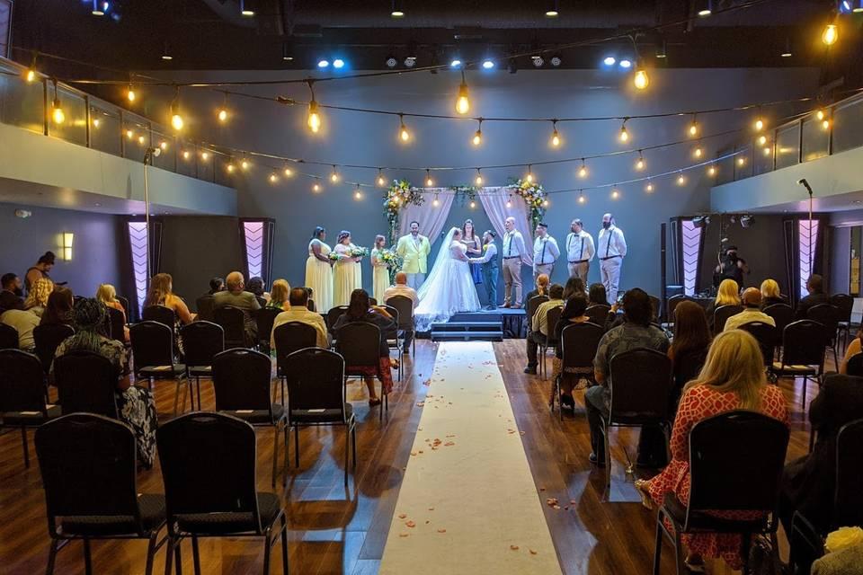 Ceremony with Bistro lights