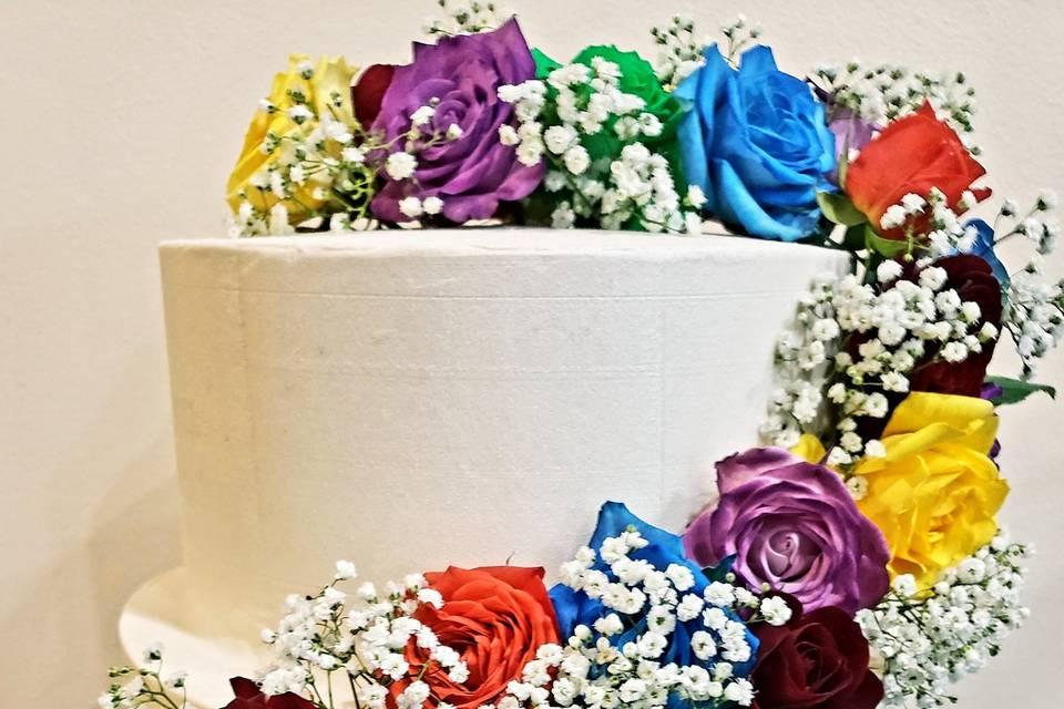 Rainbow engagement cake