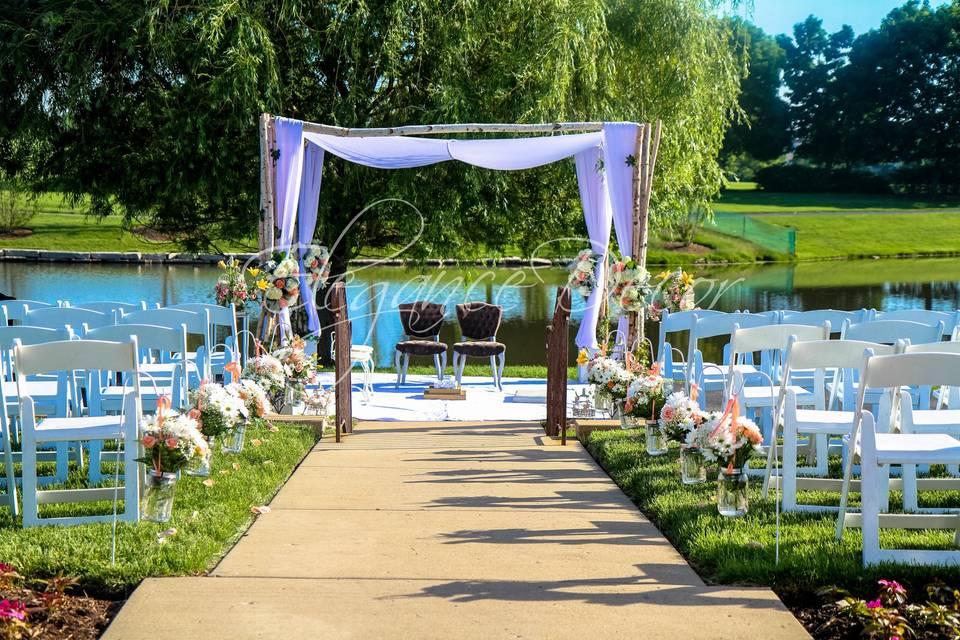 Waterfront wedding setup