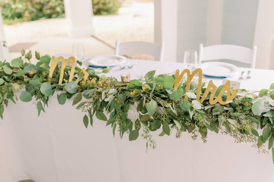 Top table details