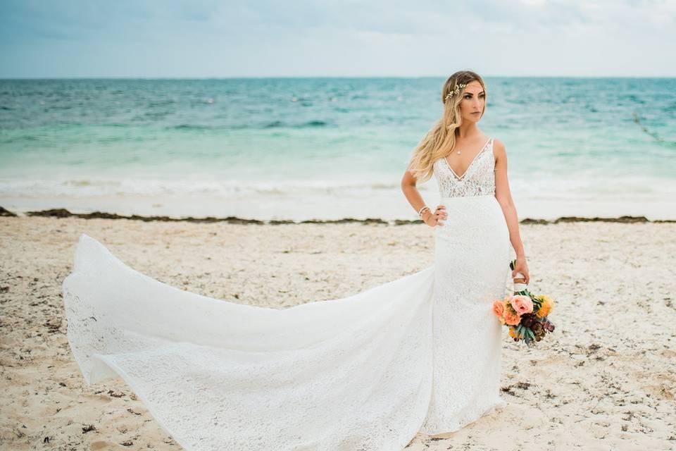 Bride by the beach