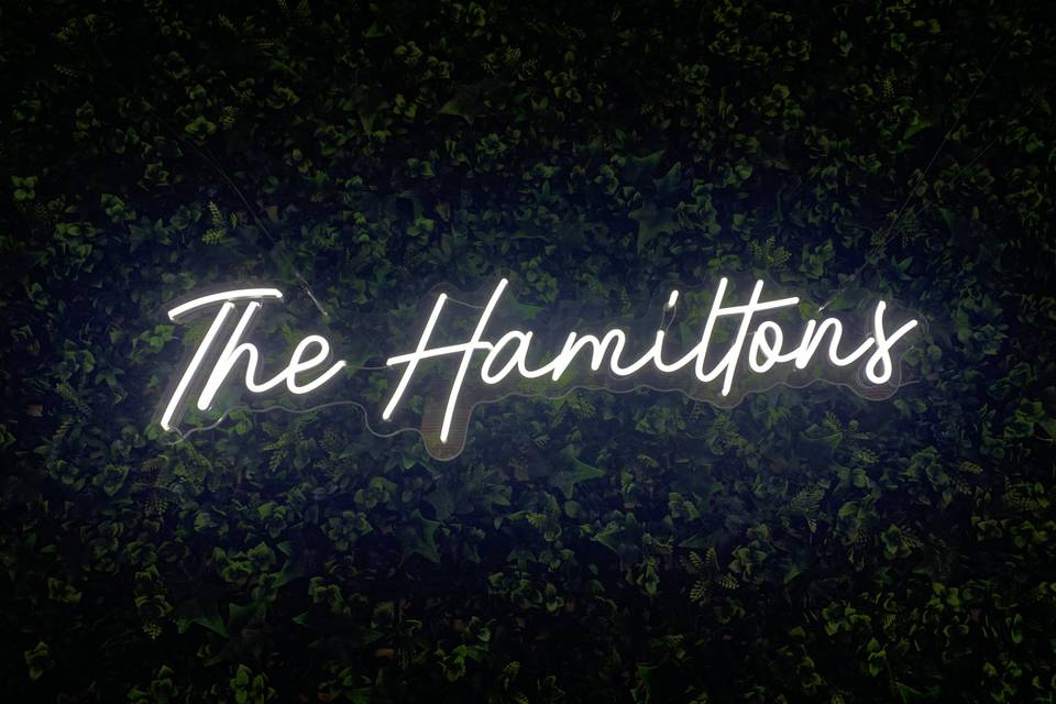 The Hamiltons, custom sign