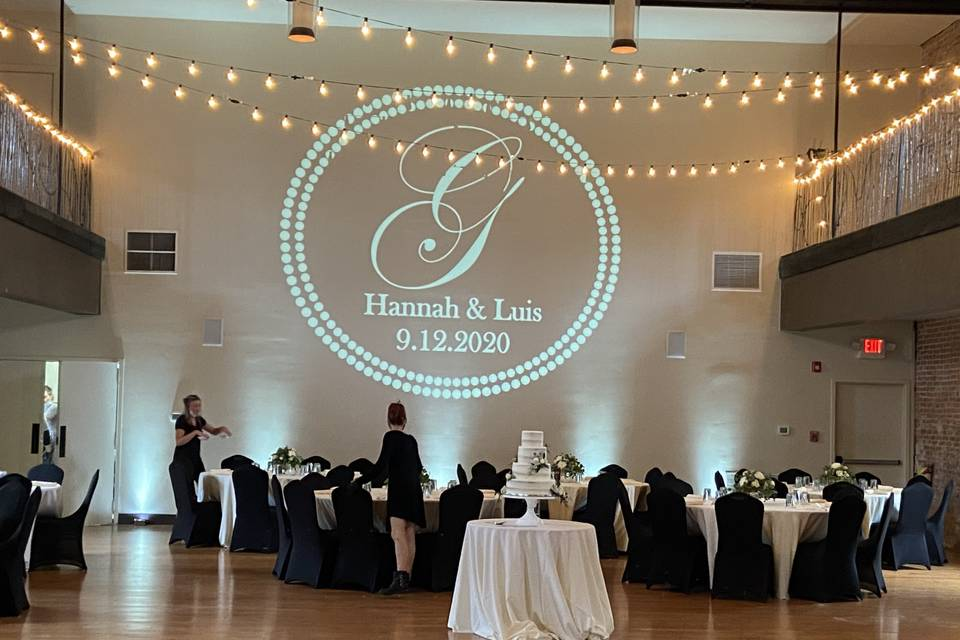 Reception with monogram wall