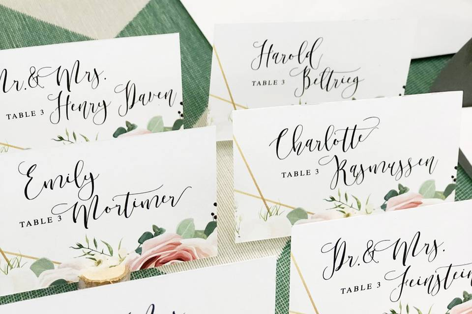 Placecards for your wedding
