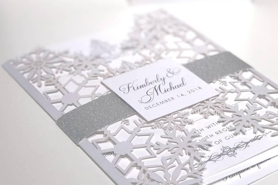 Snowflake wedding invitation