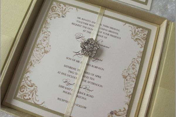 Vintage Lace invitation with buckle bling