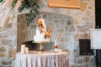 Fireplace and cake
