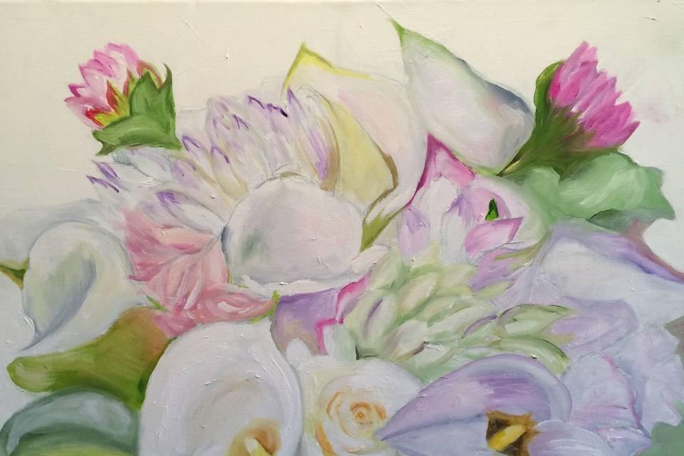 Custom Bridal Bouquet Paintings by Francine